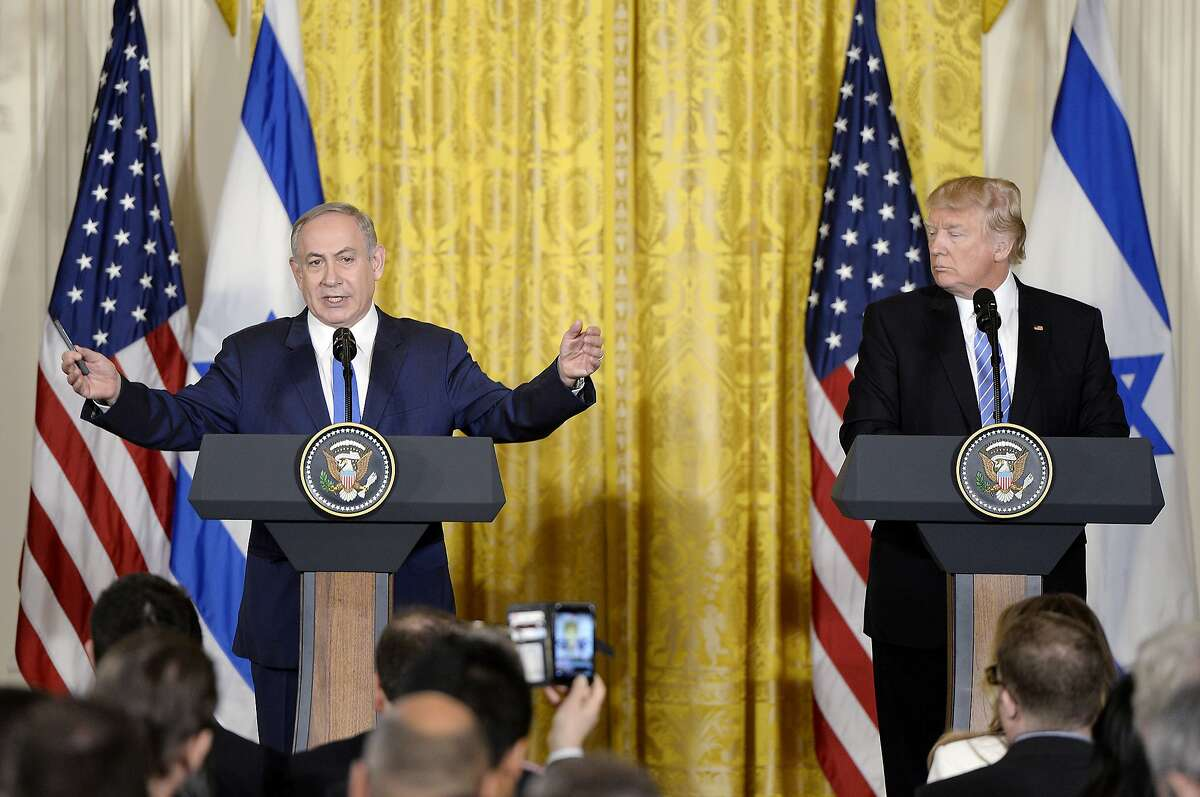U.S. President Donald Trump and Israeli Prime Minister Benjamin Netanyahu hold a joint press conference in the East Room of the White House on Wednesday, Feb. 15, 2017 in Washington, D.C. (Olivier Douliery/Abaca Press/TNS)