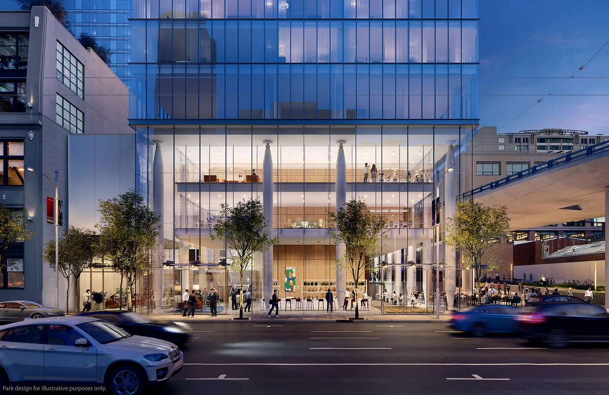 A rendering of the base of the proposed 555 Howard St., designed by�Renzo Piano Building Workshop in collaboration with Mark Cavagnero Associates.