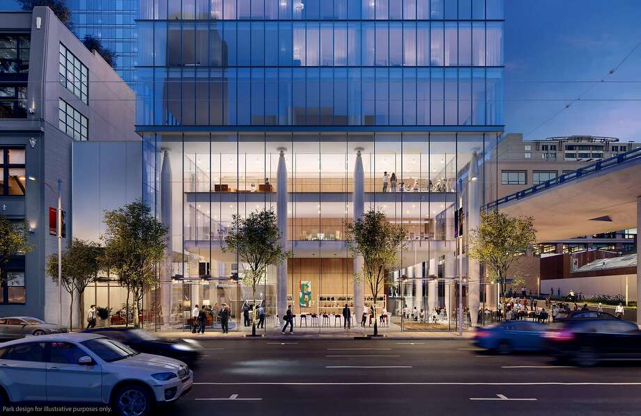A rendering of the base of the proposed 555 Howard St., designed by�Renzo Piano Building Workshop in collaboration with Mark Cavagnero Associates. Photo: Steelblue