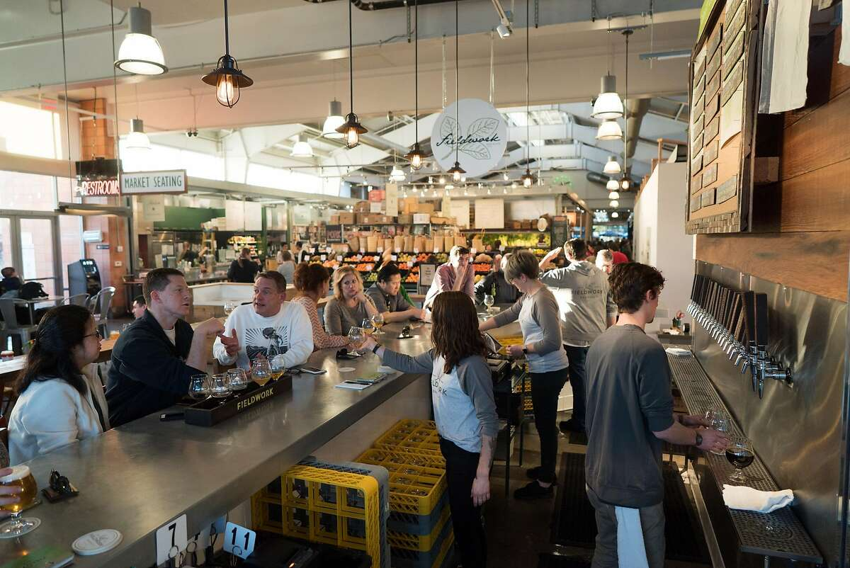 Fieldwork is seen inside the Oxbow Market in Napa, Calif. on Saturday, Feb. 11, 2017. Fieldwork features a variety of craft beers on tap.