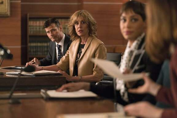 "Christine Lahti as Andrea Stevens in ""The Good Fight"" on CBS, with some of the ""Good Wife"" cast."
