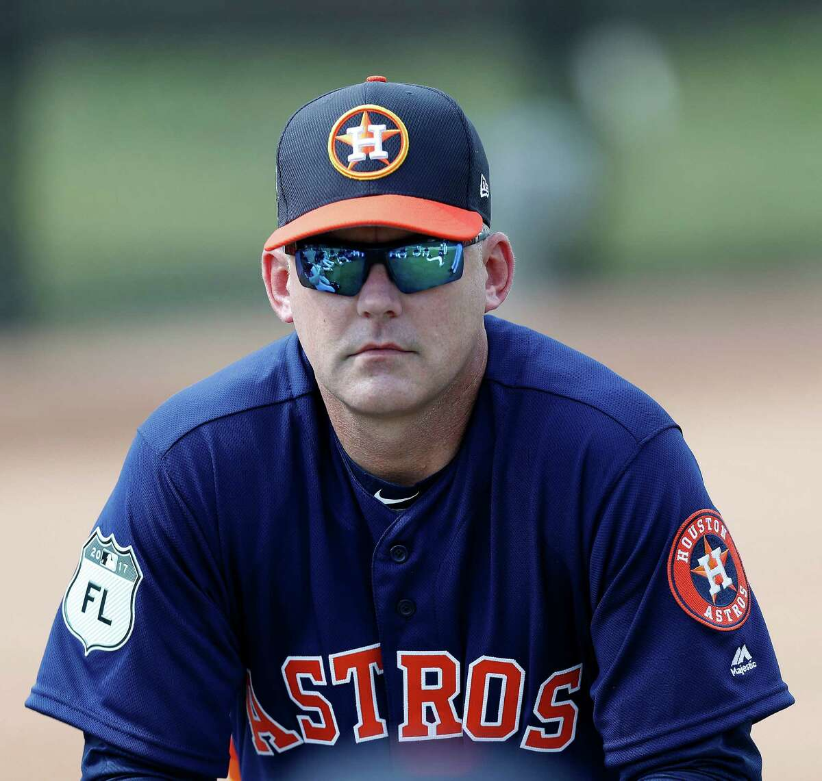Houston Astros manager A.J. Hinch watches as the Astros pitchers and catchers held their first workout of spring training at The Ballpark of the Palm Beaches, in West Palm Beach, Florida, Tuesday, February 14, 2017.