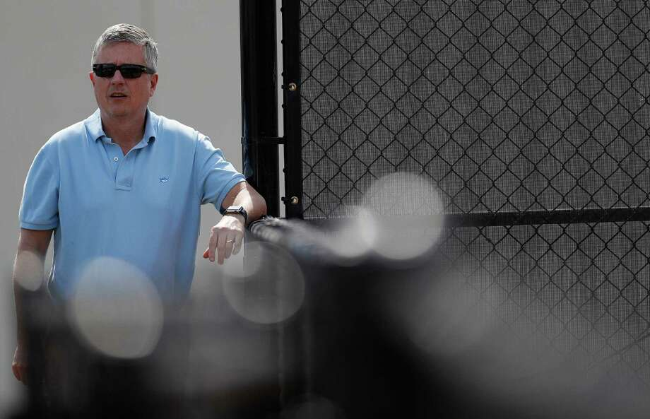 Houston Astros general manager Jeff Luhnow observes as the Astros pitchers and catchers held their first workout of spring training at The Ballpark of the Palm Beaches, in West Palm Beach, Florida, Tuesday, February 14, 2017. Photo: Karen Warren, Houston Chronicle / 2017 Houston Chronicle