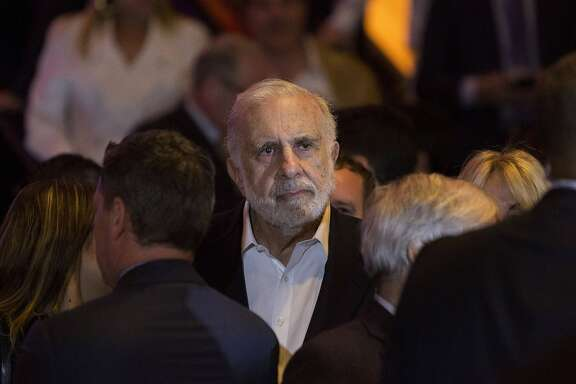 Billionaire activist investor Carl Icahn waits for Donald Trump to speak at an election night event in New York on April 19. (MUST CREDIT: Bloomberg photo by Victor J. Blue)