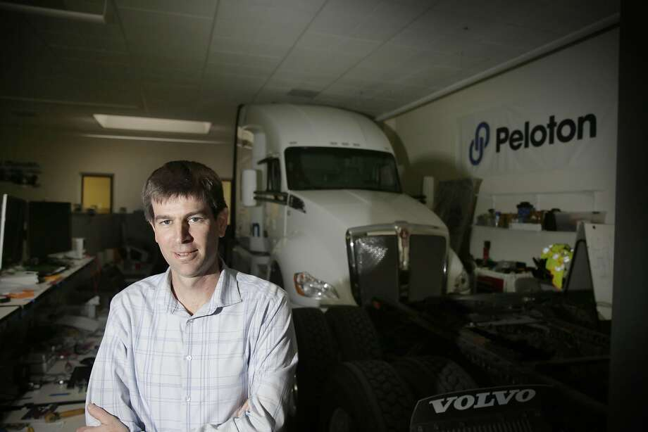 Peloton Technology CEO Josh Switkes says vehicle-to-vehicle communication lets trucks ride closely together, cutting wind resistance and improving mileage. Photo: Lea Suzuki, The Chronicle