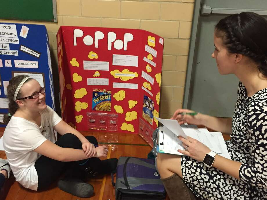 Seventh Grade Teacher Maggie Dust talks to Haley Kowalski about her project.