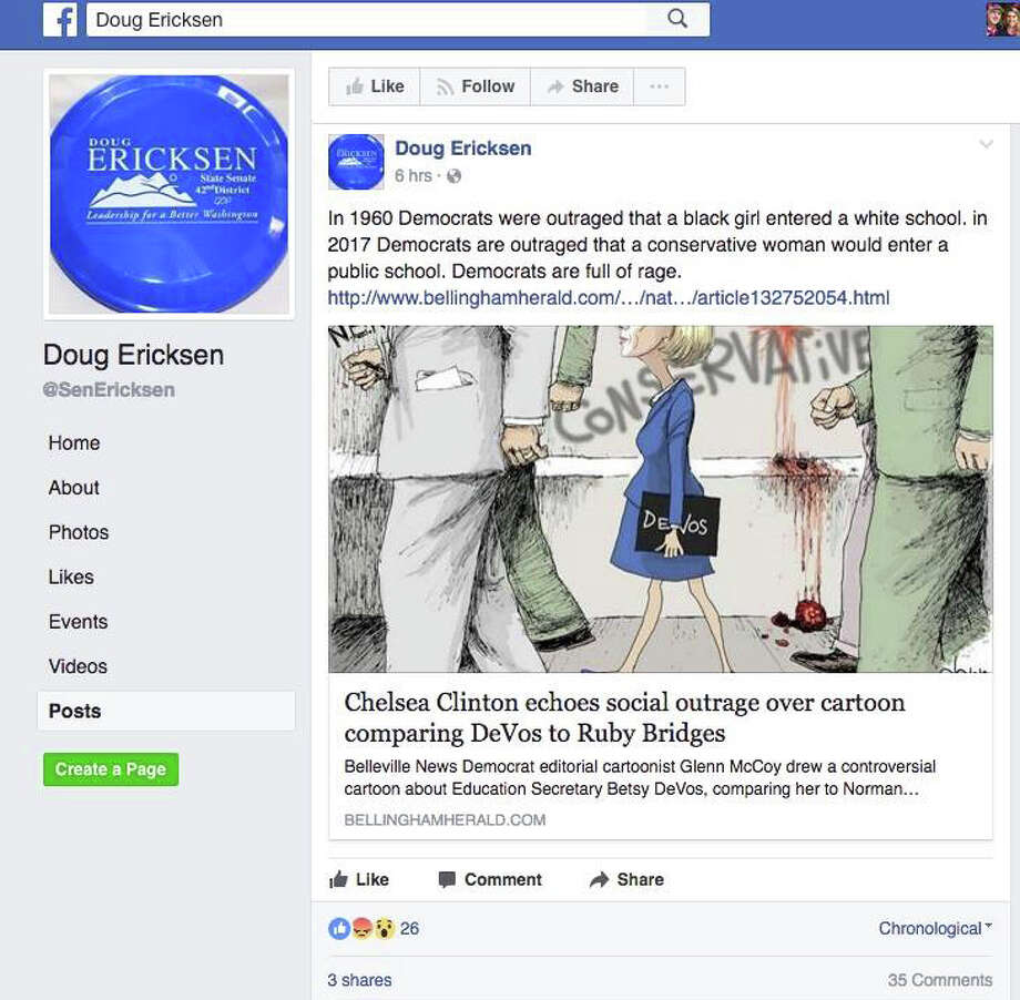 "This Feb. 14, 2017, screen shot shows a Facebook post apparently made by state Sen. Doug Ericksen featuring a cartoon reminiscent of Norman Rockwell's famous civil rights era work, ""The Problem We All Live With."" Cartoonist Glenn McCoy replaced 6-year-old desegregation hero Ruby Bridges with Education Secretary Betsy DeVos. Ericksen has since deleted the post, which read ""In 1960 Democrats were outraged that a black girl entered a while school. In 2017 Democrats are outraged that a conservative woman would enter a public school. Democrats are full of rage."" Photo: Screen Shot"
