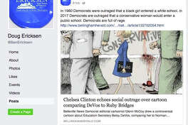 """This Feb. 14, 2017, screen shot shows a Facebook post apparently made by state Sen. Doug Ericksen featuring a cartoon reminiscent of Norman Rockwell's famous civil rights era work, """"The Problem We All Live With."""" Cartoonist Glenn McCoy replaced 6-year-old desegregation hero Ruby Bridges with Education Secretary Betsy DeVos. Ericksen has since deleted the post, which read """"In 1960 Democrats were outraged that a black girl entered a while school. In 2017 Democrats are outraged that a conservative woman would enter a public school. Democrats are full of rage."""""""
