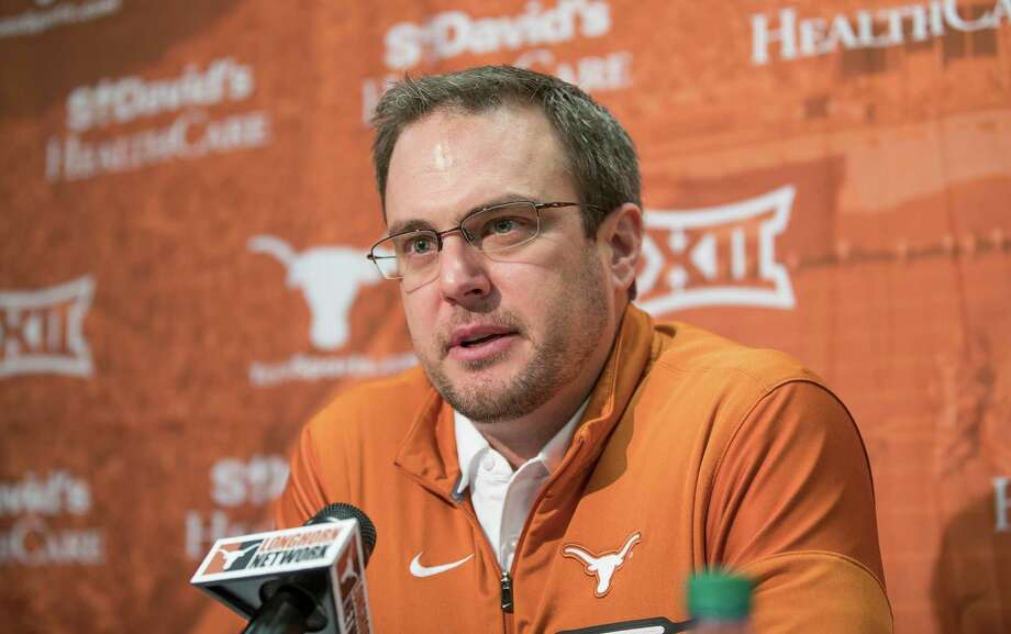 FILE - In this Jan. 5, 2017, file photo, Texas coach Tom Herman speaks during a news conference in Austin, Texas. The Longhorns are coming off three straight losing seasons under Charlie Strong, but there is no talk of rebuilding in Austin. The narrative at Texas is Strong recruited well enough that his successor is taking over a team with enough talent to make a quick turnaround. (Ricardo Brazziell/Austin American-Statesman via AP, File) Photo: Ricardo Brazziell, MBO / Austin American-Statesman