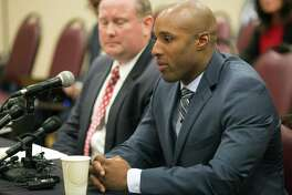 Former John Jay High School assistant football coach Mack Breed appears at a University Athletic League hearing, Oct. 15, 2015, in Round Rock, Texas. Texas high school sports officials showed leniency but the coach resigned under pressure, pleaded guilty to a Class A misdemeanor assault for his role in the attack, was fined $1,500, ordered to perform 90 hours of community service, and directed to pay a portion of Watts medical bills as part of his restitution.