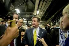 Paul Manafort, President Donald Trump's former campaign manager, speaks to reporters during the republican National Convention in Cleveland on July 20, 2016.