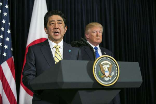 """Prime Minister Shinzo Abe of Japan, with President Donald Trump close by, at a quickly arranged news conference to address a missile North Korea launched toward the sea off its eastern coast. In a sign that ignorance is a norm, Trump introduced the visiting head of state as """"Prime Minister Shinzo,"""" the equivalent of the president being introduced as President Donald."""