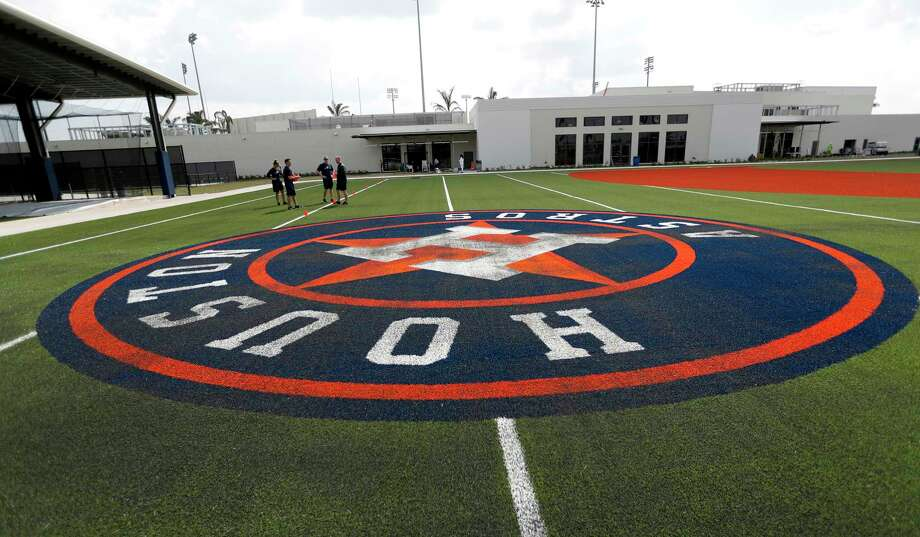 The Houston Astros logo on one of the practice fields at the Astros new spring training facility, The Ballpark of the Palm Beaches, in West Palm Beach, Florida, Tuesday. The Astros share the new ballpark with the Washington Nationals. Photo: Karen Warren, Staff Photographer / 2017 Houston Chronicle