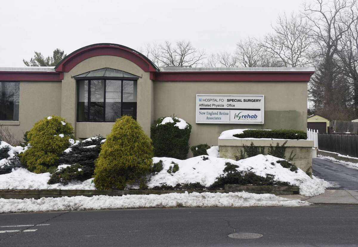 The business complex at 143 Sound Beach Ave. in Old Greenwich, Conn., photographed on Wednesday, Feb. 15, 2017. A proposal has been pitched to the town's Planning and Zoning Commission to build an apartment complex with 44 units at the current site of the business complex. The current building houses three businesses - the Hospital for Special Surgery, New England Retina Associates and Ivy Rehab Physical Therapy.