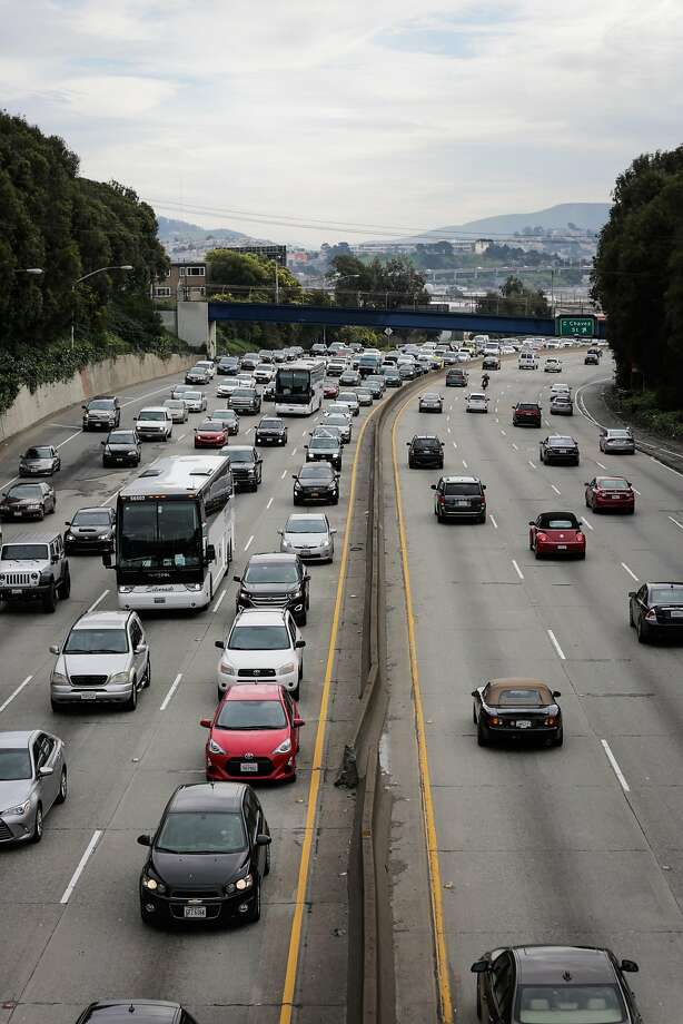Traffic on Highway 101 in San Francisco in February — Gov. Jerry Brown has signed a bill authorizing $52 billion in taxes and fees to fix the state's roads. Photo: Gabrielle Lurie, The Chronicle