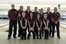 Colonie won the Section II girls' bowling championship for the sixth time in nine years. Front row (from left): Dakota Deitz, Abbey Fruiterman, Shealynn Peckowitz, Caitlyn Kelly. Back row: coach Pete Grugen, CarolAnne Manzer, Natalya Porcello, Quinn Hodson, Amanda Chrzanowski, assistant coach Bill Carl. (Pete Dougherty / Times Union)