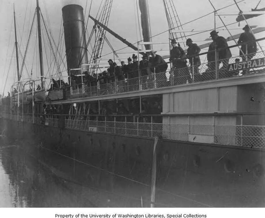"People stand along the deck railings of the S.S. Australia near Port Townsed circa 1898. This steamship was among many ships that called at Port Townsend in those days, as the city was the port of entry at Puget Sound for most of its 19th century existence and beyond. During the city's seaport heyday, many fell victim to being ""shanghaied"" after a night out at the brothels and saloons of Port Townsend's waterfront, being forced into service aboard working ships sailing from the port. Photo courtesy UW Special Collections. Photo: UW Special Collections"