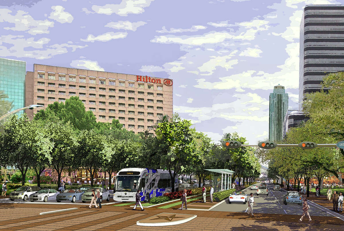 Rendering images of Post Oak Boulevard in the Galleria area. The greatest challenge facing Uptown is the lack of effective commuter transit service. UptownÂ?'s 80,000 employees simply have no commuter transit options, and the lack of service is a detriment to the growth of this highly successful area.