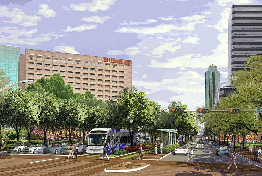 Rendering images of Post Oak Boulevard in the Galleria area. The greatest challenge facing Uptown is the lack of effective commuter transit service. Uptown's 80,000 employees simply have no commuter transit options, and the lack of service is a detriment to the growth of this highly successful area. / handout