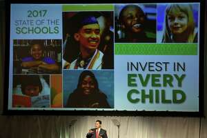 HISD Superintendent Richard Carranza gives his first State of Schools speech at Hilton Americas Hotel Wednesday, Feb. 15, 2017, in Houston.