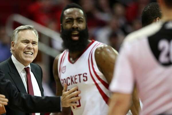 Houston Rockets head coach Mike D'Antoni and guard James Harden (13) complain a call to a referee during the third quarter of the game Wednesday, Feb. 15, 2017, in Houston. The Rockets lost to the Heat 117-109. ( Yi-Chin Lee / Houston Chronicle )