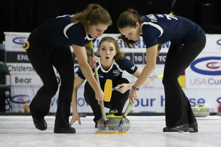 Lexi Lanigan, of Team Bear, looks on as her teammates sweep the ice in front of the rock she threw. Teams compete in the women's division of the 2017 USA Curling National Championships at Xfinity Arena, in Everett, Wednesday, Feb. 15, 2017. The 8-day event begins with round-robin pool plan and end with the finals on Sunday. Photo: GENNA MARTIN, SEATTLEPI.COM / SEATTLEPI.COM