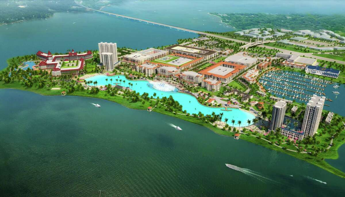 An artist's rendering of the planned eight-acre pool by Crystal Lagoons at the Bayside resort near Dallas.