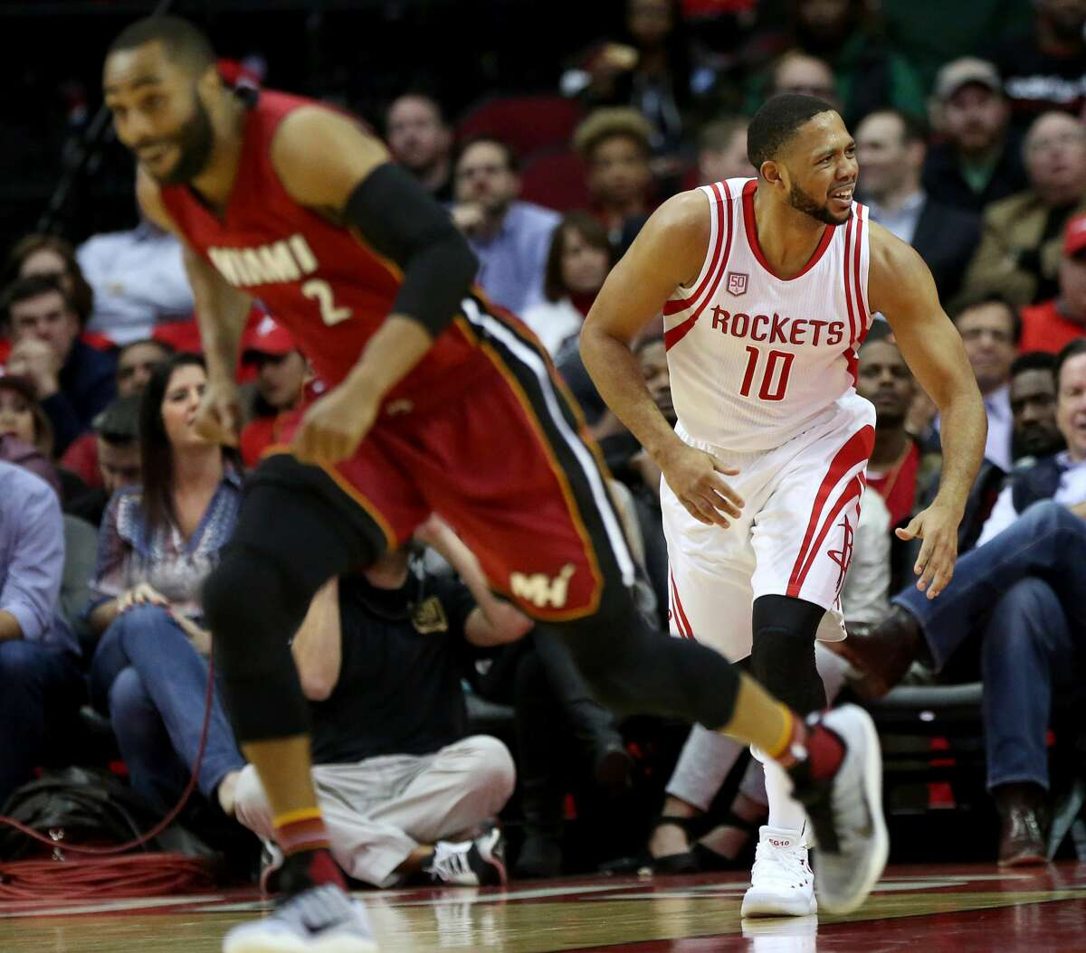 Houston Rockets guard Eric Gordon (10) is disappointed that Miami Heat players were not called foul on him during the second half of the game Wednesday, Feb. 15, 2017, in Houston. ( Yi-Chin Lee / Houston Chronicle )