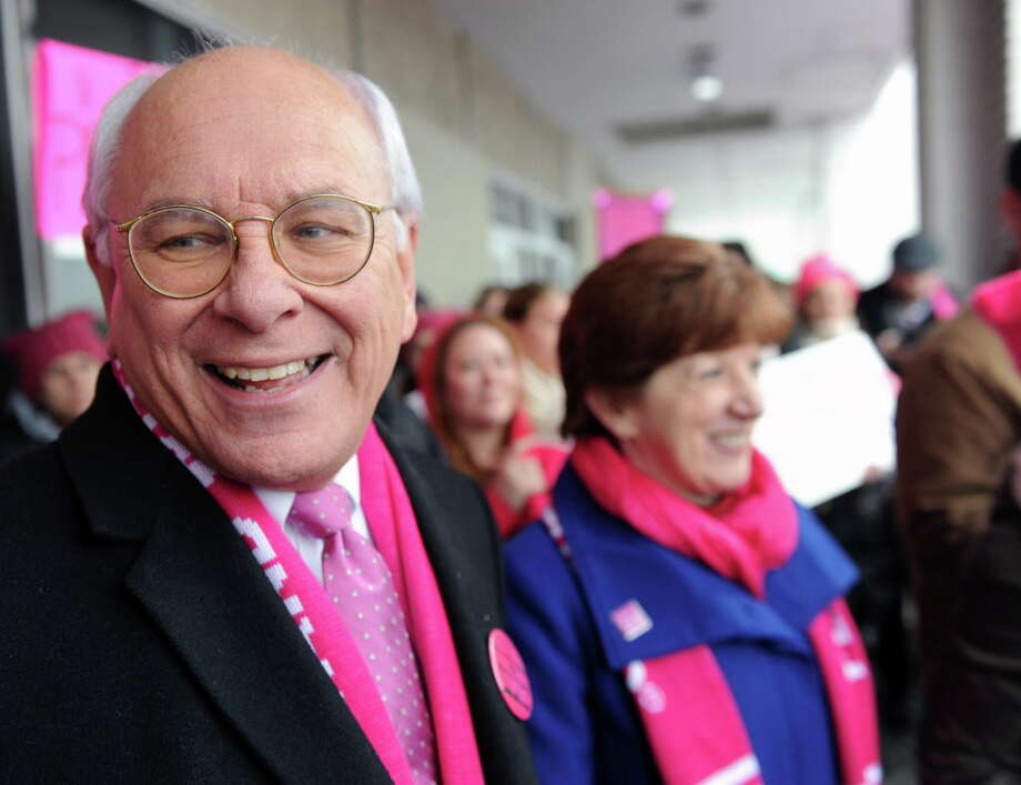 U.S. Rep. Paul Tonko stands with Albany Mayor Kathey Sheehan during a rally supporting Planned Parenthood at the organization's location on Central Avenue in Albany, N.Y. Saturday, Feb. 11, 2017. (Robert Downen/Times Union)