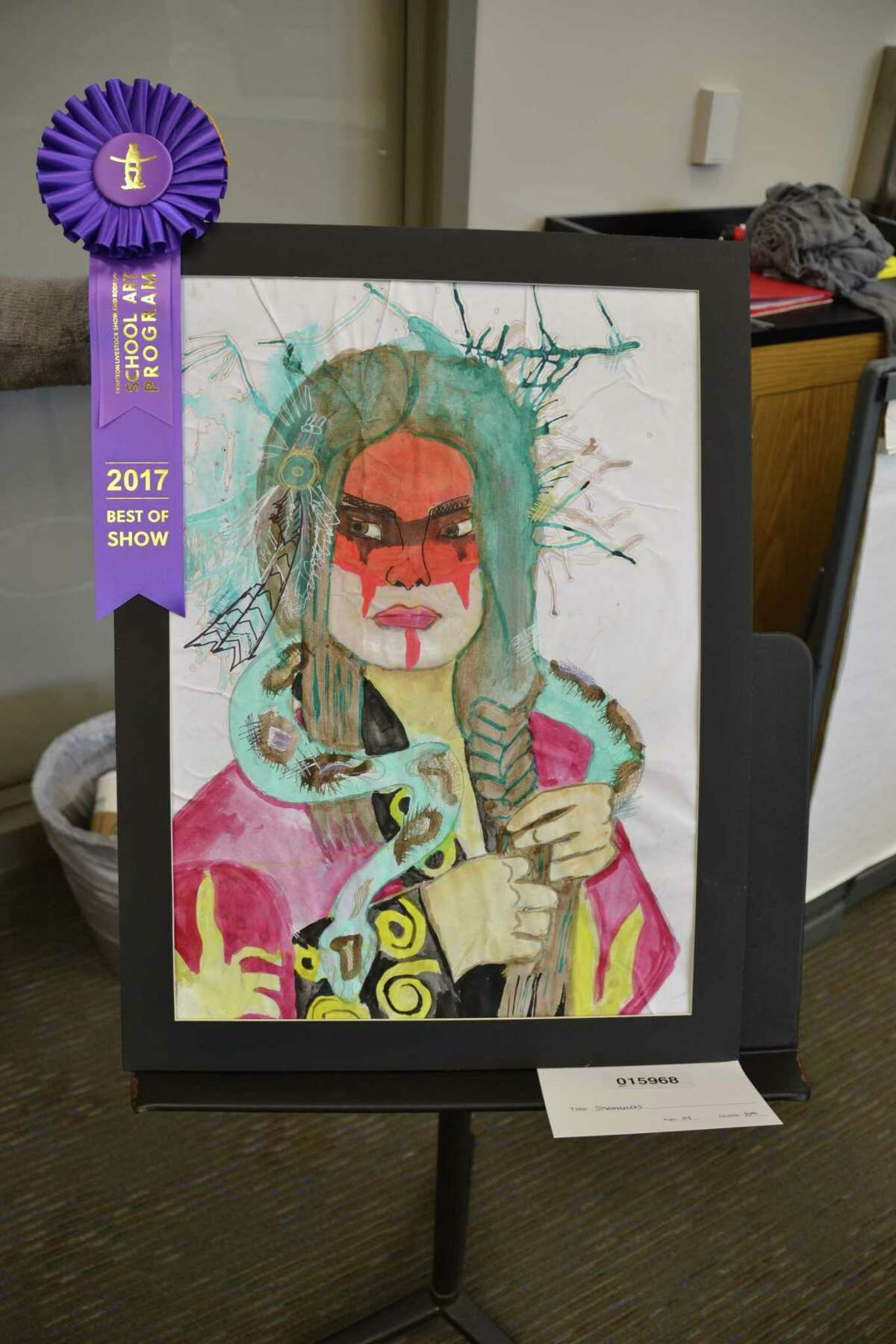 Lomax Junior High eighth-grader Perla Quintana's art won best of show at the junior high level in La Porte ISD's rodeo art contest.