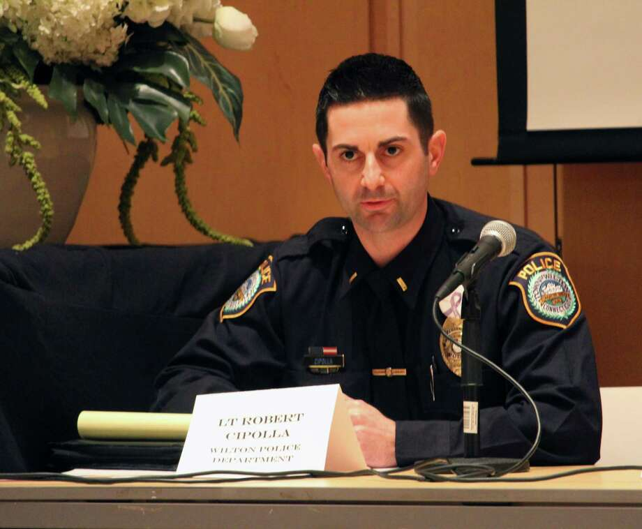 "Wilton Police Lt. Rob Cipolla speaking at ""The Hunting Ground"" screening at Wilton Library on Wednesday, Feb. 15. Photo: Stephanie Kim / Hearst Connecticut Media"