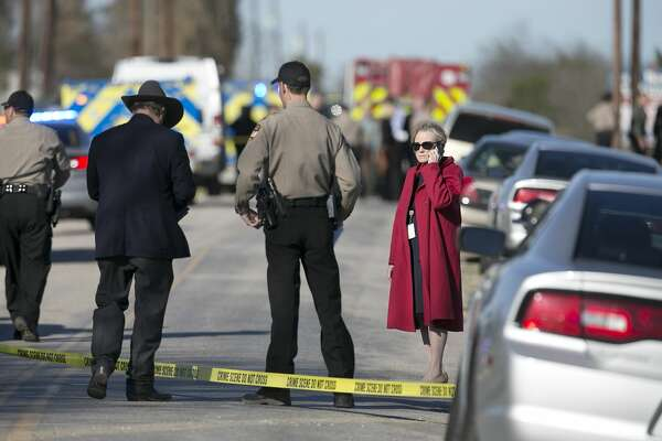 Travis County District Attorney Margaret Moore arrives at the scene as Sheriff's Department personnel investigate  an officer involved shooting on Burch Drive off Highway 71 in Del Valle on Wednesday, February 15, 2017. The Sheriff's department says a man kidnapped a woman at gunpoint from a local business before a shooting occurred after they encountered a Travis County deputy. The woman is dead and the man is critically injured, police said. DEBORAH CANNON / AMERICAN-STATESMAN