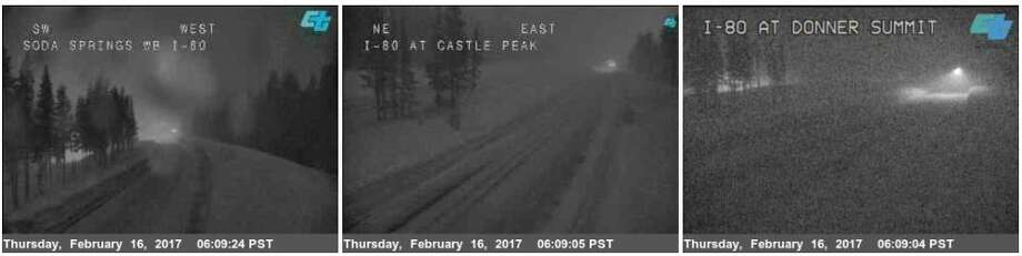 6:20 a.m. Thursday: I-80 over Donner Summit quickly becoming snow covered. Photo: National Weather Service