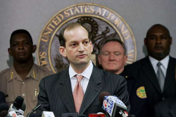 FILE - FEBRUARY 16, 2017: It was reported that U.S. President Donald Trump will nominate Alexander Acosta as the new Labor Secretary nominee a day after Andrew Puzder withdrew his nomination February 16, 2017. MIAMI - JUNE 23: Alexander Acosta, U.S. Attorney Southern Florida, speaks to the media at the Florida Federal Justice building June 23, 2006 in Miami, Florida. Acosta spoke about the arrest of seven individuals, staying in a Miami warehouse, who were allegedly planning to carry out terror attacks.  (Photo by Joe Raedle/Getty Images)