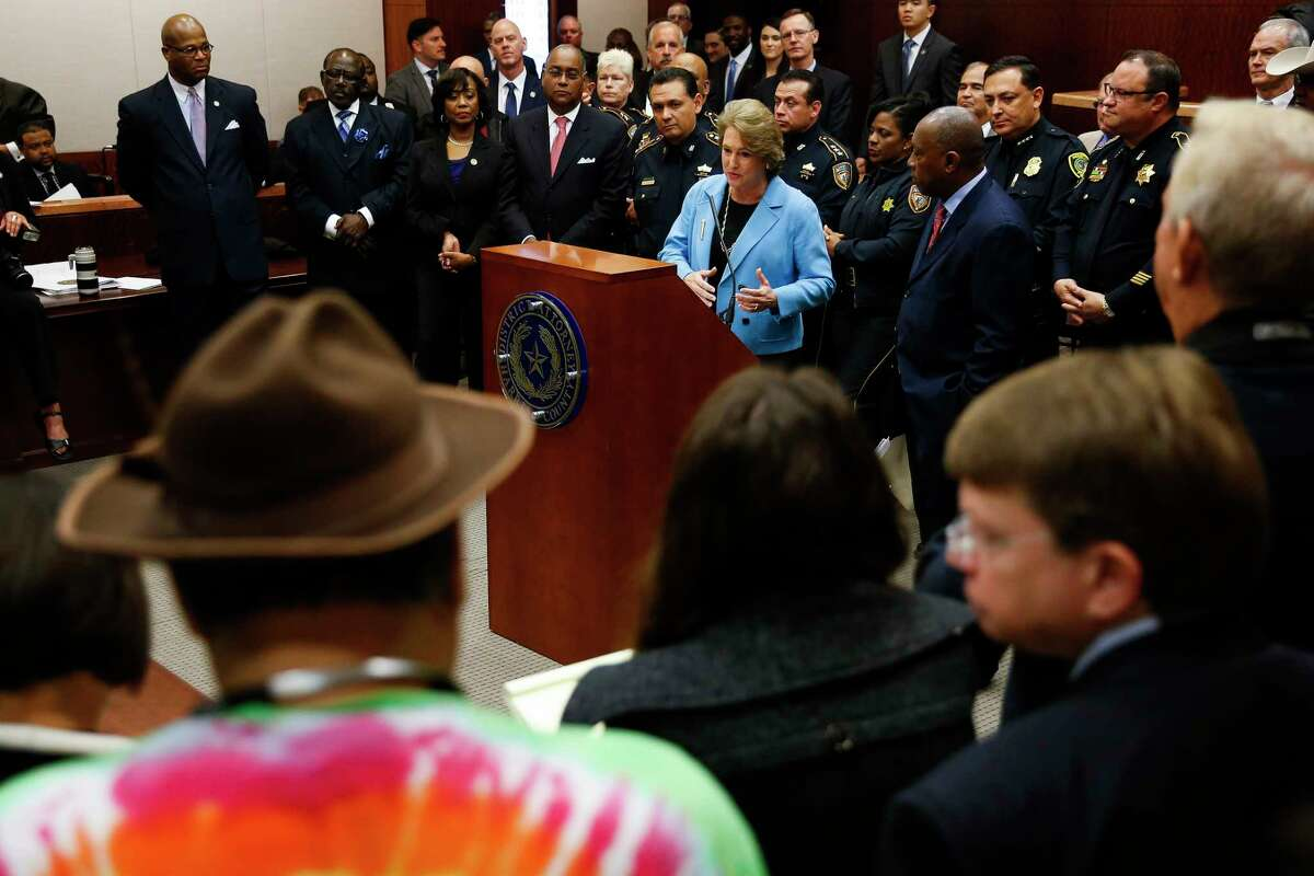 Harris County district attorney Kim Ogg announces a new policy to decriminalize low-level possession of marijuana Thursday, Feb. 16, 2017 in Houston. The new policy means that most misdemeanor offenders with less than four ounces of marijuana will not be arrested, ticketed or required to appear in court if they agree to take a four-hour drug education class.