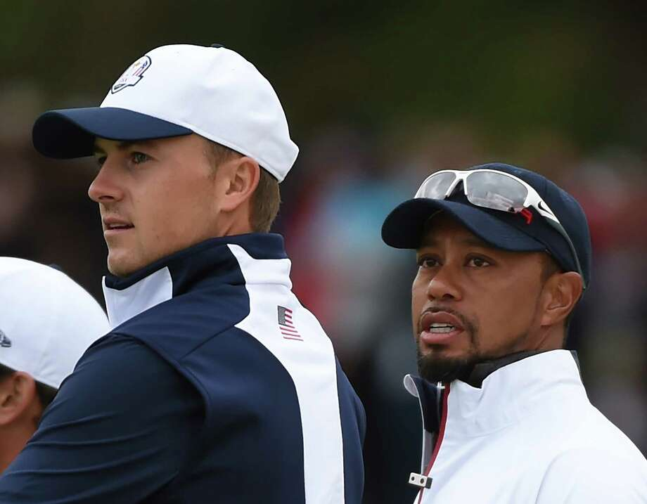 Team USA player Jordan Spieth and Vice-Captain Tiger Woods attend a practice round ahead of the 41st Ryder Cup at Hazeltine National Golf Course in Chaska, Minnesota, September 28, 2016 / AFP / TIMOTHY A. CLARY (Photo credit should read TIMOTHY A. CLARY/AFP/Getty Images) Photo: Timothy A. Clary / Getty Images, Staff / This content is subject to copyright.