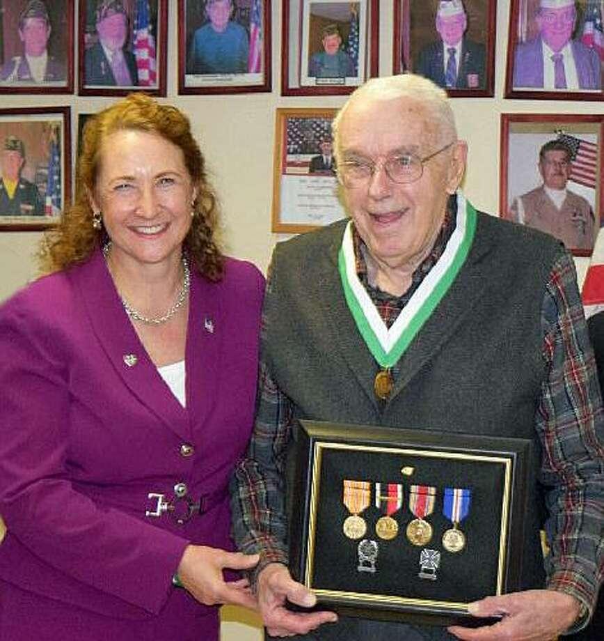 U.S. Rep. Elizabeth Esty and World War II veteran Robert Lindner. Photo: Contributed Photo