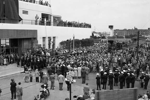 The opening of the Maritime Museum in the old Aquatic Park Casino building,  Negative pack says June 26, 1951