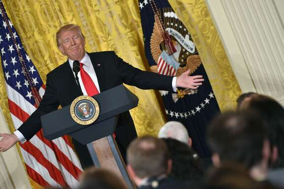 President Donald Trump speaks during a press conference on February 16, 2017, at the White House in Washington, DC. Trump announced Alexander Acosta as his new nominee to head the US Department of Labor, after his first choice, Andrew Puzder, withdrew from consideration on February 15.