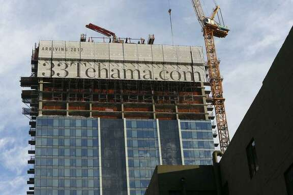 A concrete slab in a high-rise under construction at 33 Tehama St. in the South of Market neighborhood of San Francisco was at risk of toppling Wednesday evening after equipment came in contact with it.