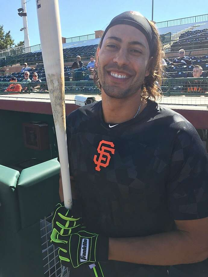 Former Giant Michael Morse popped onto the field with a smile after arriving at spring training Thursday Photo: Henry Schulman, San Francisco Chronicle