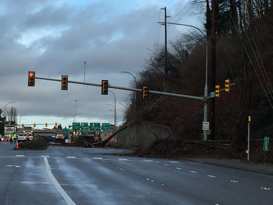 A landslide on the Maple Valley Highway in Renton brought trees and dirt down, blocking the highway Thursday morning. Photo: Photo Courtesy Renton Police Department Via Twitter.