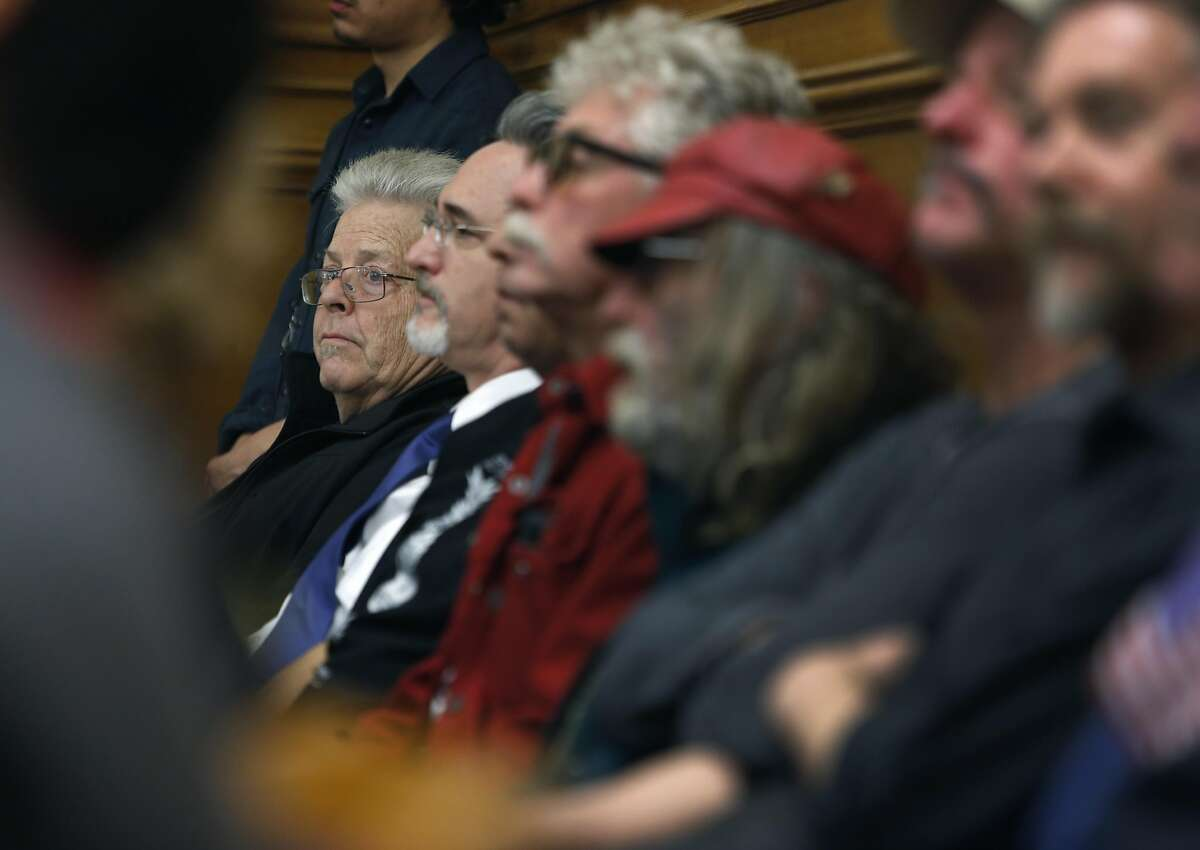 Summer of Love concert promoter Boots Hughston (left) appears at a crowded meeting of the Recreation and Park Commission at City Hall in San Francisco, Calif. on Thursday, Feb. 16, 2017 to appeal a decision to deny a 50th anniversary concert in Golden Gate Park.