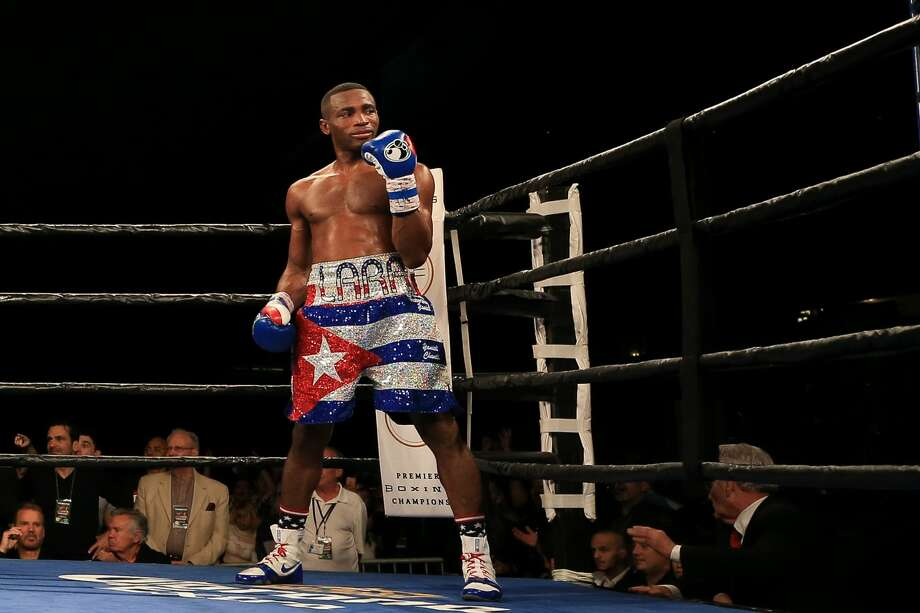 MIAMI, FL - JANUARY 13:  Erislandy Lara gestures after defeating Yuri Foreman during their WBA World Super Welterweight Championship bout at Hialeah Park on January 13, 2017 in Miami, Florida. (Photo by Rob Foldy/Getty Images) Photo: Rob Foldy/Getty Images