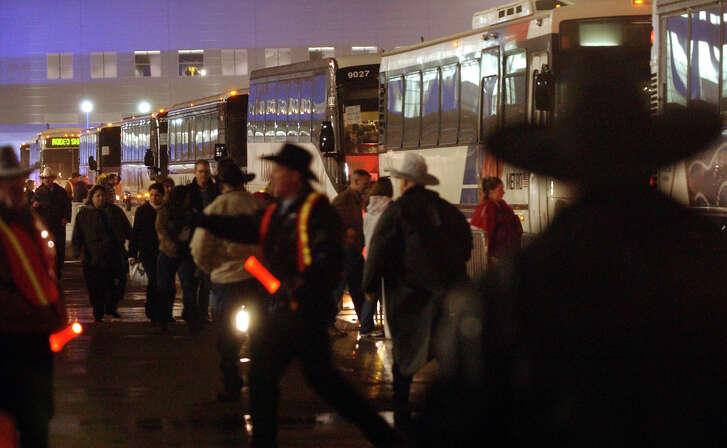 Houston Livestock Show and Rodeo opening night:   fans make their way to metro busses after the Houston Livestock Show and Rodeo
