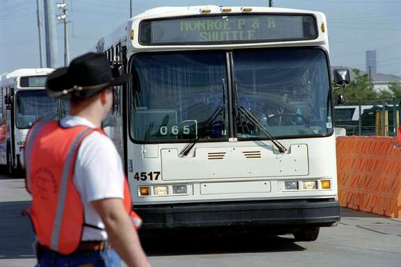 A Metro shuttle bus arrives at NRG as part of the shuttle service for RodeoHouston.