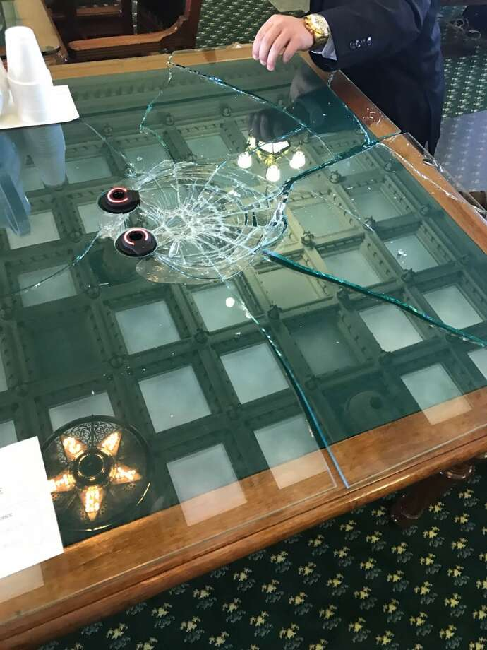 State Sen. Charles Schwertner, R-Georgetown, brought his gavel down on the glass so hard in a Feb. 15, 2017, senate hearing that he shattered the glass on a table. Photo: Courtesy Texas State Sen. Charles Schwertner