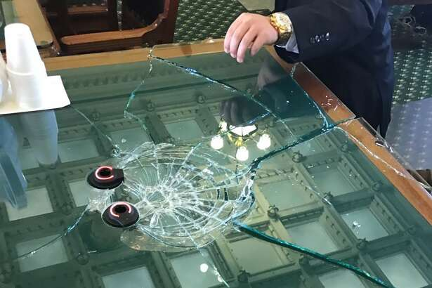 State Sen. Charles Schwertner, R-Georgetown, brought his gavel down on the glass so hard in a Feb. 15, 2017, senate hearing that he shattered the glass on a table.