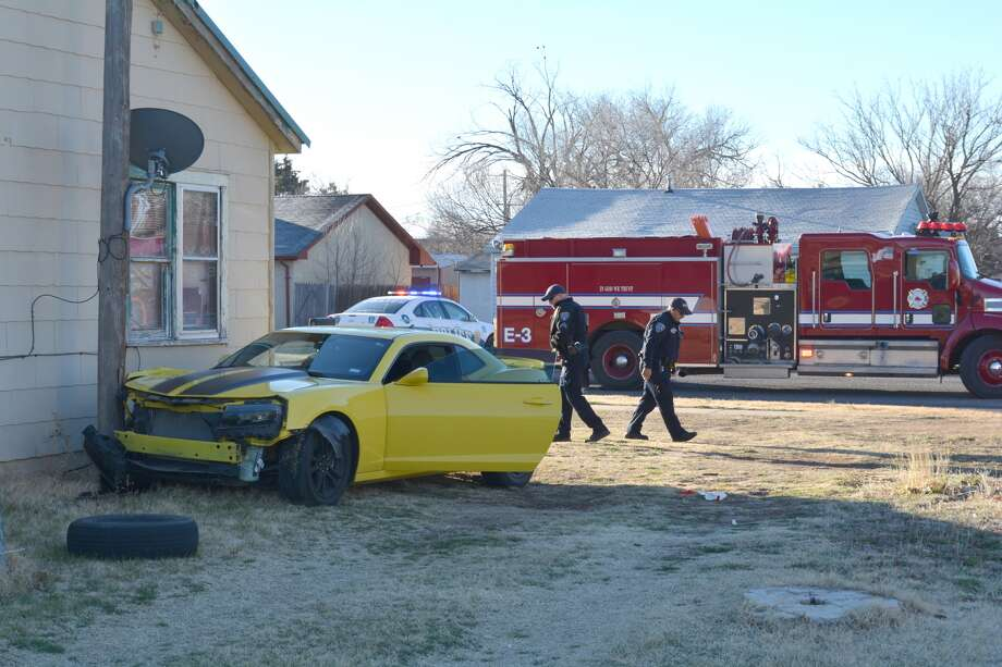 The lone occupant in a Chevrolet Camaro was taken by ambulance to Covenant Health Plainview with undetermined injuries following a traffic mishap at the corner of 11th and Smyth about 8:30 a.m. Thursday. The driver, an unidentified woman, reportedly was unconscious when first responders arrived on the scene. The auto apparently glanced off the front porch of the residence at 1912 W. 11th before colliding with a utility pole on the west side of the house. The structure appeared not to have received discernable damage.
