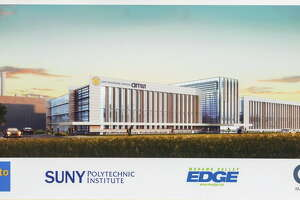 Rendering of  SUNY Polytechnic Institute's new 360,000 square foot state-of-the-art computer chip fab at the Marcy Nanocenter, which will be home to ams AG's advanced sensor manufacturing on April 20, 2016, in Marcy, NY.